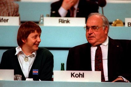 Angela Merkel and Helmut Kohl
