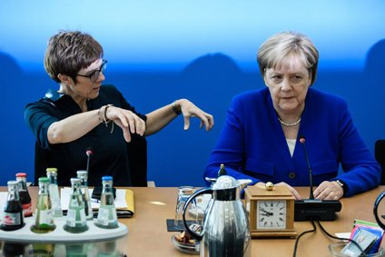 Merkel and Annegret Kramp-Karrenbauer.
