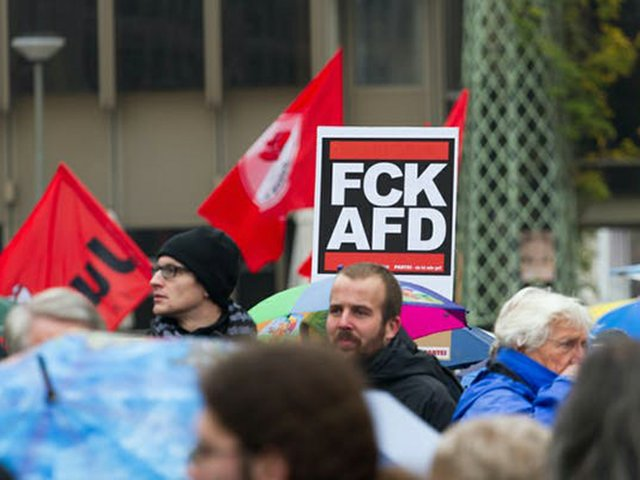 A sign at a protest reading 'FCK AFD'