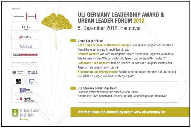 Urban Leader Forum & Leadership Award 2012